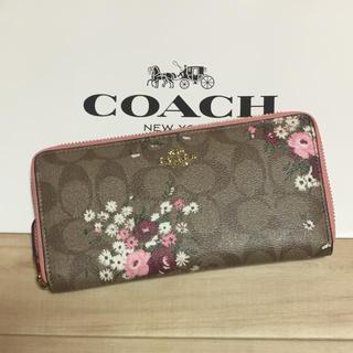 COACH - 新品 [COACH コーチ] 長財布 ピンクの花柄 シグネチャー