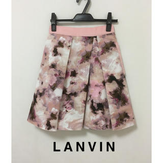 LANVIN en Bleu - ランバン LANVIN■フラワー スカート■36 S