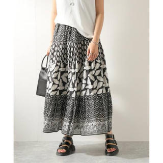 BEAMS - 新品 サラマリカ リーフ柄 マキシ丈 スカート ブラック