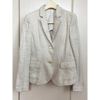 ムジルシリョウヒン(MUJI (無印良品))の無印 麻 リネン ホワイト テーラードジャケット レディース Sサイズ(テーラードジャケット)