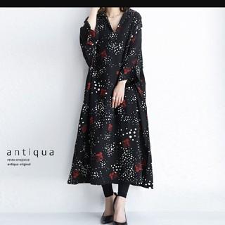 アンティカ(antiqua)のアンティカ 花柄シャツワンピ(ロングワンピース/マキシワンピース)