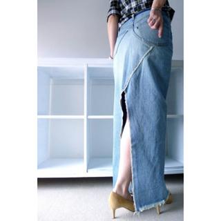 DEUXIEME CLASSE - 新品タグMADISONBLUEビンテージカットオフデニムロングタイトスカート02