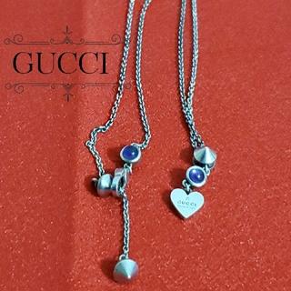 グッチ(Gucci)のGUCCIグッチ シルバーネックレス シルバー×パープル(ネックレス)