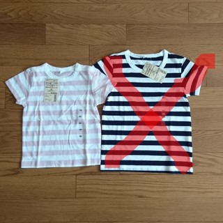 MUJI (無印良品) - 子供服 ボーダー柄 Tシャツ(1枚)