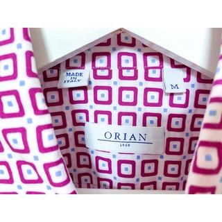 オリアン(ORIAN)のイタリア製 ORIAN 柄シャツ サイズM コットン ピンク 幾何学模様 小紋柄(シャツ)
