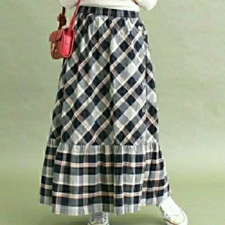 ドットアンドストライプスチャイルドウーマン(Dot&Stripes CHILDWOMAN)のCHILD WOMAN インドビッグチェック ギャザースカート(ロングスカート)