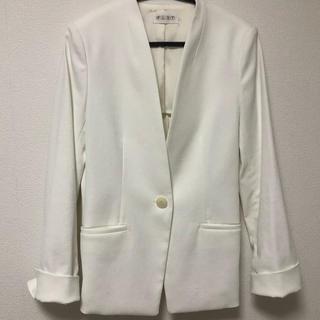 PLST - リネンブレンドカラーレスジャケット(オフホワイト)