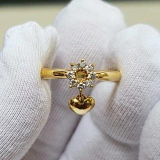 【K18】ハート ダイヤモンドリング