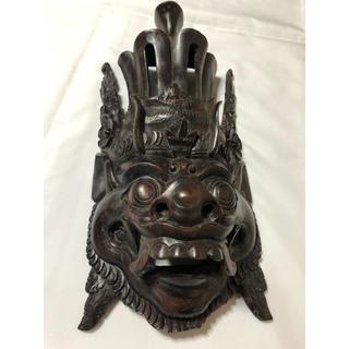 バロン神 インドネシア バリ島  木彫り マスク お面 年代物 アンティーク(彫刻/オブジェ)