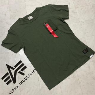 アルファインダストリーズ(ALPHA INDUSTRIES)のALPHA INDUSTRIES Tシャツ M 胸ポケット グリーン系(Tシャツ/カットソー(半袖/袖なし))