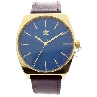 アディダス(adidas)のAdidas Watches 男女兼用 ゴールド ブルー文字盤 茶色 レザー革(腕時計)