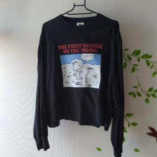 ジーユー(GU)のスヌーピー 長袖Tシャツ ブラック XL(Tシャツ(長袖/七分))