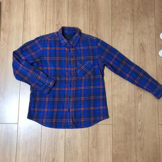 ハレ(HARE)のHARE/ハレ メンズ チェックシャツ ネルシャツ Mサイズ ブルー×オレンジ(シャツ)