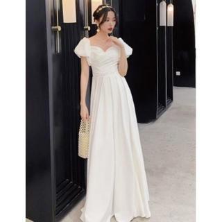 美品! イブニングドレス ホワイト ロング エレガント 優雅