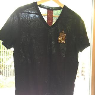 メンズ ザラZARA Tシャツ ブラック 光沢薄手コットン サイズL 限定品