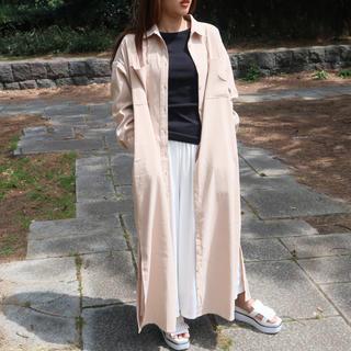 merlot - マキシ丈 2way シャツワンピース 肌色