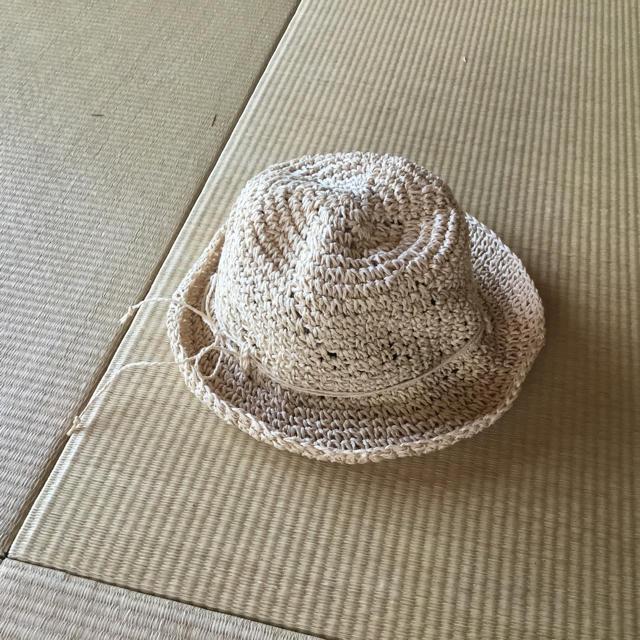MUJI (無印良品)(ムジルシリョウヒン)の無印良品 たためる手編み帽子 ハット 54㎝ キッズ/ベビー/マタニティのこども用ファッション小物(帽子)の商品写真