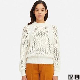 ユニクロ(UNIQLO)のユニクロ即完売品!メッシュオーバーサイズセーター(長袖)ホワイト L(ニット/セーター)