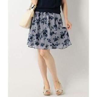 エニィスィス(anySiS)のany SiSチェック柄×フラワープリントスカート(ひざ丈スカート)