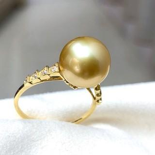 【高級】天然南洋真珠 リング10-11mm k18(リング(指輪))