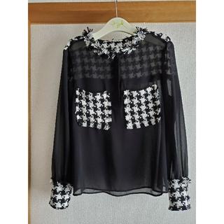ZARA - ZARA Lサイズ 今季人気 千鳥格子の異素材ツィードシャツ