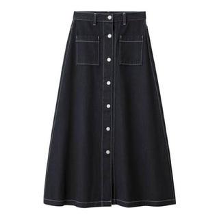 GU - GU デニムフロントボタンマキシスカート