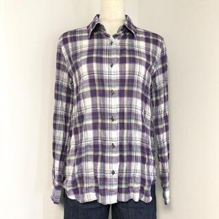 DEUXIEME CLASSE -  Deuxieme Classe パープル系 リネン混の薄手チェックシャツ