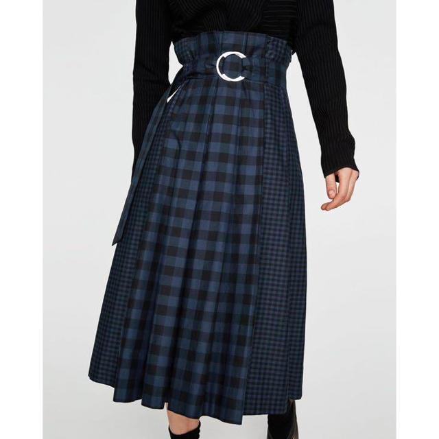ZARA(ザラ)の最終値下げ ザラ S チェック プリーツ ロングスカート レディースのスカート(ロングスカート)の商品写真