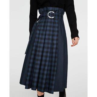 ZARA - 最終値下げ ザラ S チェック プリーツ ロングスカート