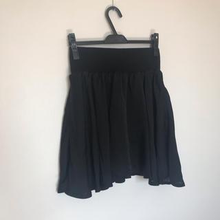 グリーンパークス(green parks)の美品 黒 チュールスカート風 フレアスカート(ひざ丈スカート)