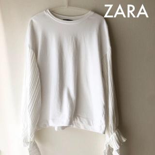 ザラ(ZARA)のZARA デザインスウェット 白(トレーナー/スウェット)