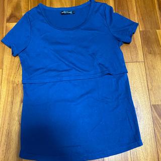 ニシマツヤ(西松屋)の授乳用シャツ 紺 サイズM(シャツ/ブラウス(長袖/七分))