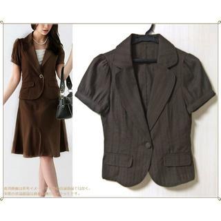 スーナウーナ(SunaUna)のSU 美品 ブラウン ダークブラウン 茶色 半袖 春 夏 ジャケット 0530(テーラードジャケット)