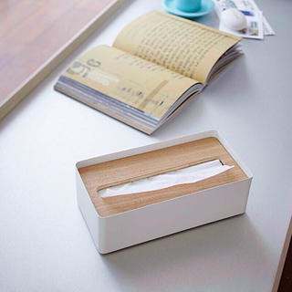 フランフラン(Francfranc)のRIN ティッシュケース ティッシュボックス 北欧 インテリア 木目 蓋付き(ティッシュボックス)