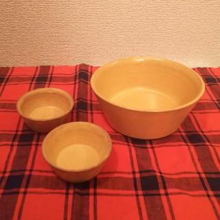 作家 小澤基晴さんの淡黄釉鉢セット 美品(食器)