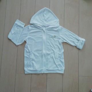 140 薄手 白 女児 パーカー 紫外線対策 冷房対策(ジャケット/上着)