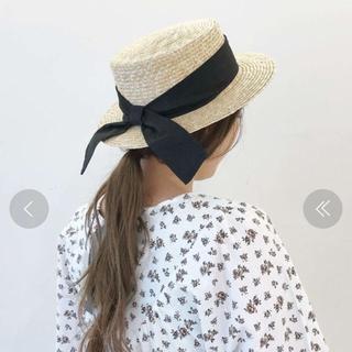 カスタネ(Kastane)のカスタネ  リボン付き カンカン帽(麦わら帽子/ストローハット)