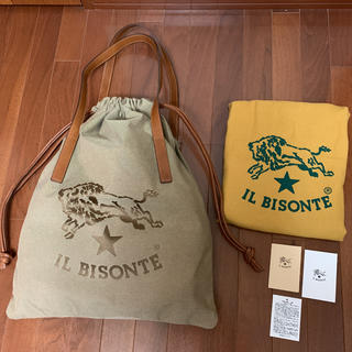 IL BISONTE - 美品 イルビゾンテ  巾着 ビッグロゴ   トートバック
