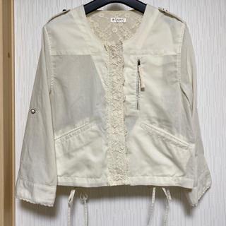 アクシーズファム(axes femme)のアクシーズファム レース合わせ編み上げリボンデザインジャケット(ブルゾン)
