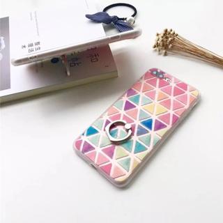 iPhone6 iPhone6s リング付き 三角 タイル柄(iPhoneケース)
