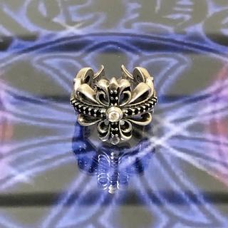 クロムハーツ(Chrome Hearts)の【美品】クロムハーツ ダブルフローラルクロス 1粒ダイヤ&ブラックダイヤカスタム(リング(指輪))