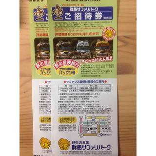 群馬サファリパーク招待券2枚(動物園)