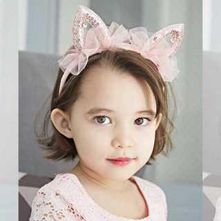 キラキラスパンコール&リボンの猫耳カチューシャ★大人も着用可能【ピンクゴールド】(カチューシャ)