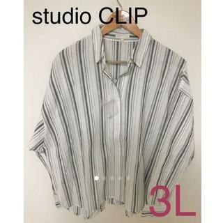 STUDIO CLIP - 新品 Studio CLIP 大きい サイズ 3L ストライプ 長袖 シャツ 綿