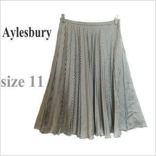 アリスバーリー(Aylesbury)のAylesbury*アリスバーリー*黒白総柄プリーツ膝丈フレアスカート*11(ひざ丈スカート)