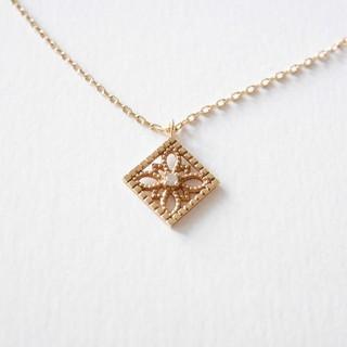agete - アガット K14 ダイヤモンド 透かし ネックレス