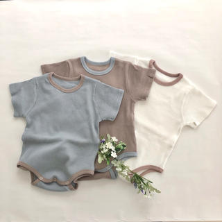 韓国子供服 baby rompers ホワイト80 新品 男女兼用