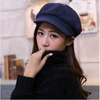 ユニセックス キャスケット帽 小顔効果 ネイビー かわいい 紺色 プレゼント(キャスケット)