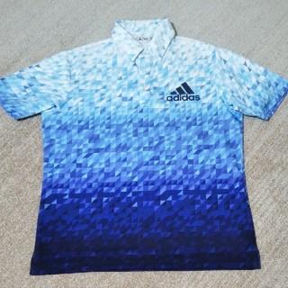 アディダス(adidas)のグラデーションプリント半袖ポロシャツ(ロイヤルブルー)(ウエア)