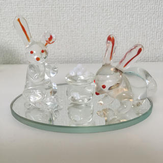 ガラス細工 ウサギ(月見だんご) 3コセット(ガラス)